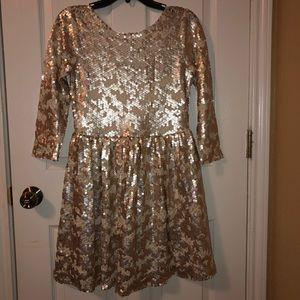 GB Gold shiny dress. 3/4 long sleeve.